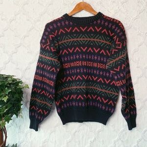 Vintage Colorful Geometric Crewneck Sweater